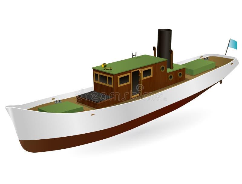 Piccolo vapore del fiume con il grande camino Imbarcazione a motore, nave a vapore del mare per pescare illustrazione vettoriale