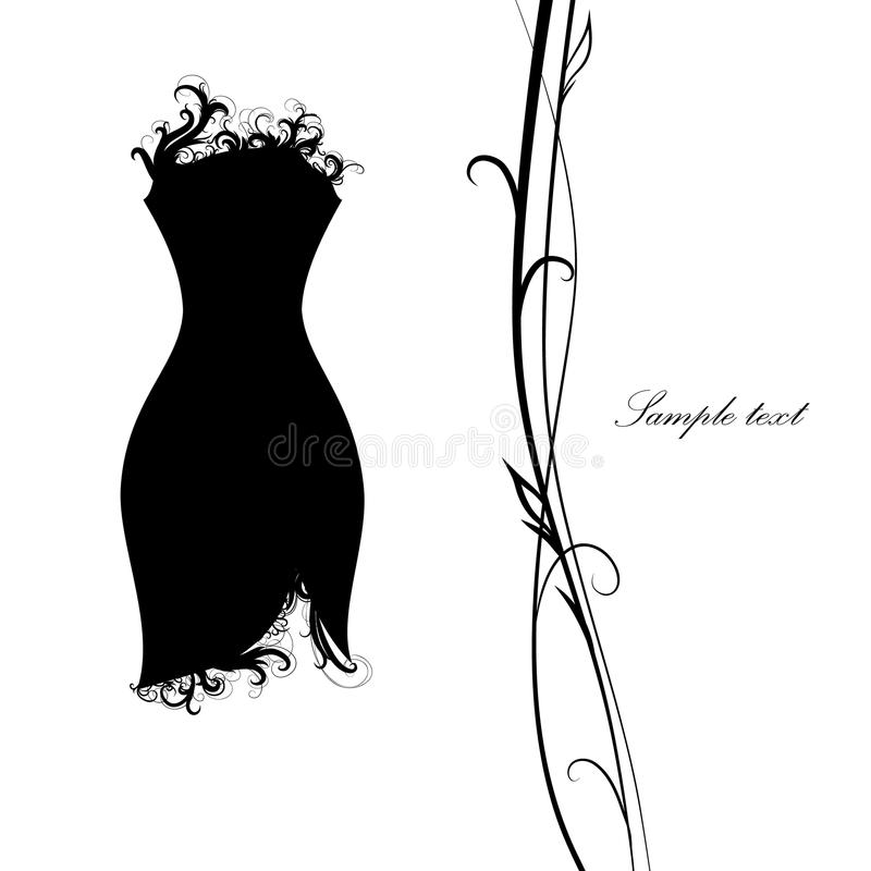 Piccolo vestito nero vestito nero, con gli elementi openwork fotografie stock libere da diritti