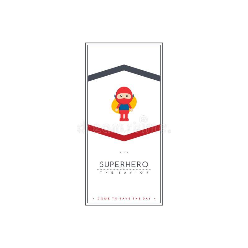 piccolo vettore del salvatore del fumetto del ragazzo del bambino del supereroe illustrazione di stock
