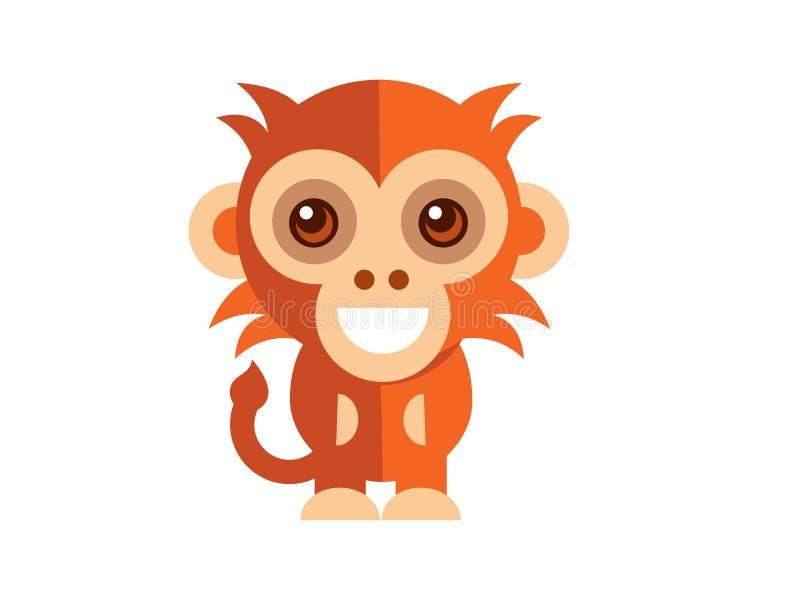 Piccolo vettore sveglio della scimmia sul Blackground bianco royalty illustrazione gratis
