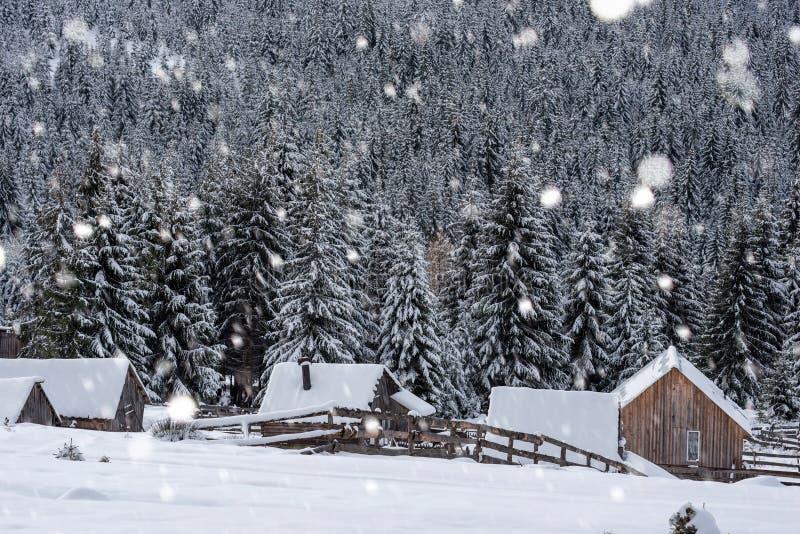 Piccolo villaggio di inverno nelle montagne immagini stock