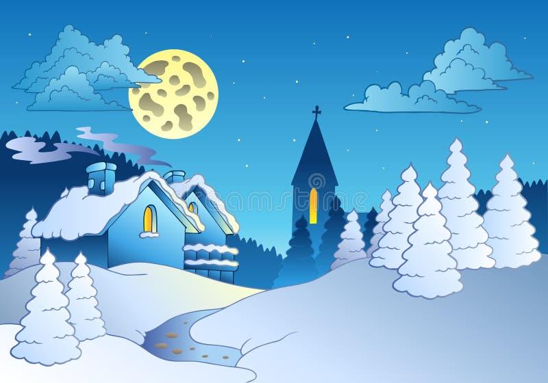 Piccolo villaggio in inverno illustrazione vettoriale