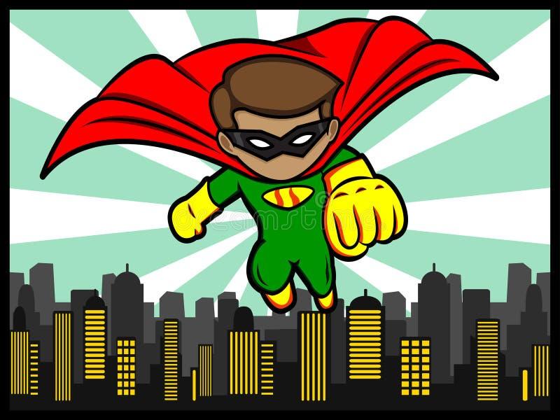Piccolo volo del supereroe illustrazione vettoriale