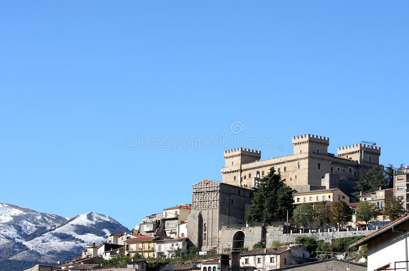 Piccolomini Castle in Italian Celano stock images