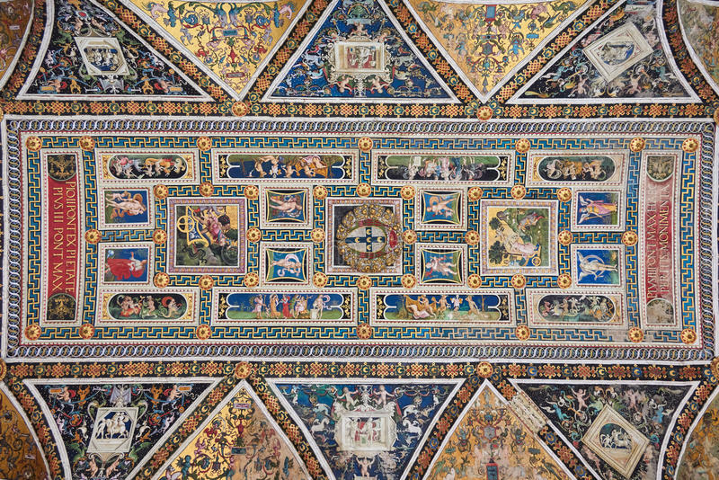 Piccolomini Library ceiling royalty free stock photos