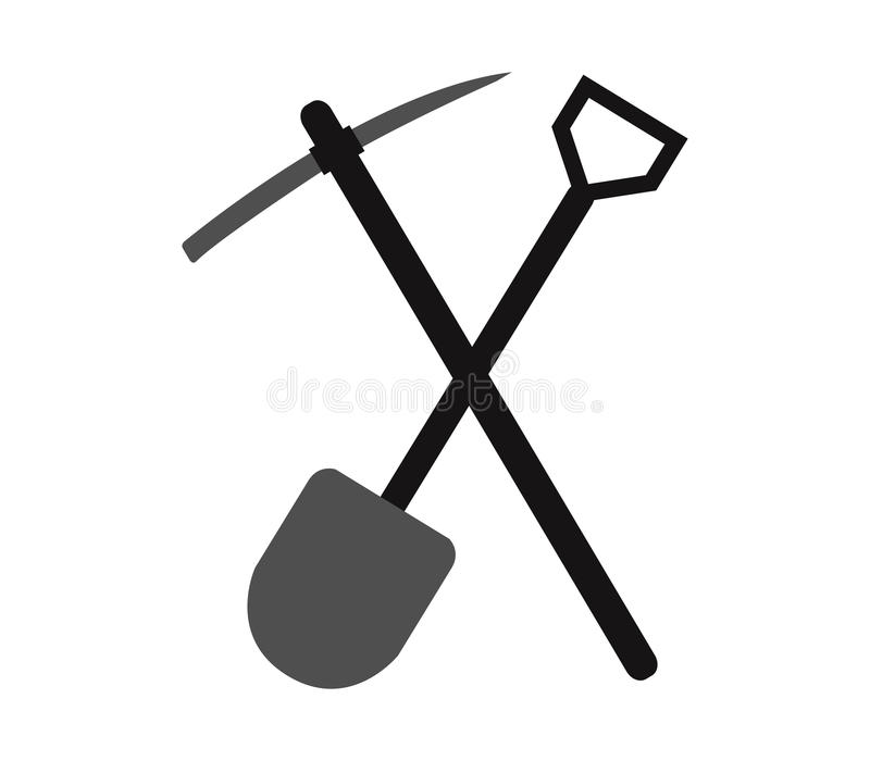 Piccone e pala da scavare illustrazione di stock