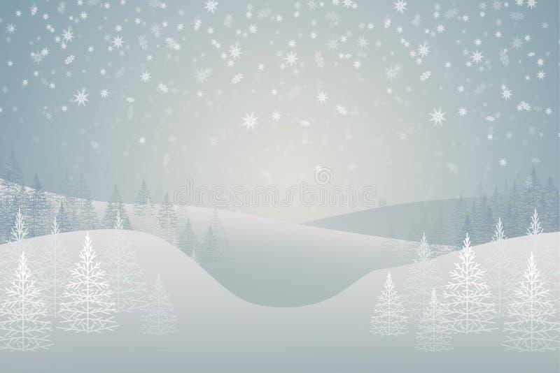 Piceas nevadas del bosque del invierno en la colina Paisaje Tema de la Navidad stock de ilustración
