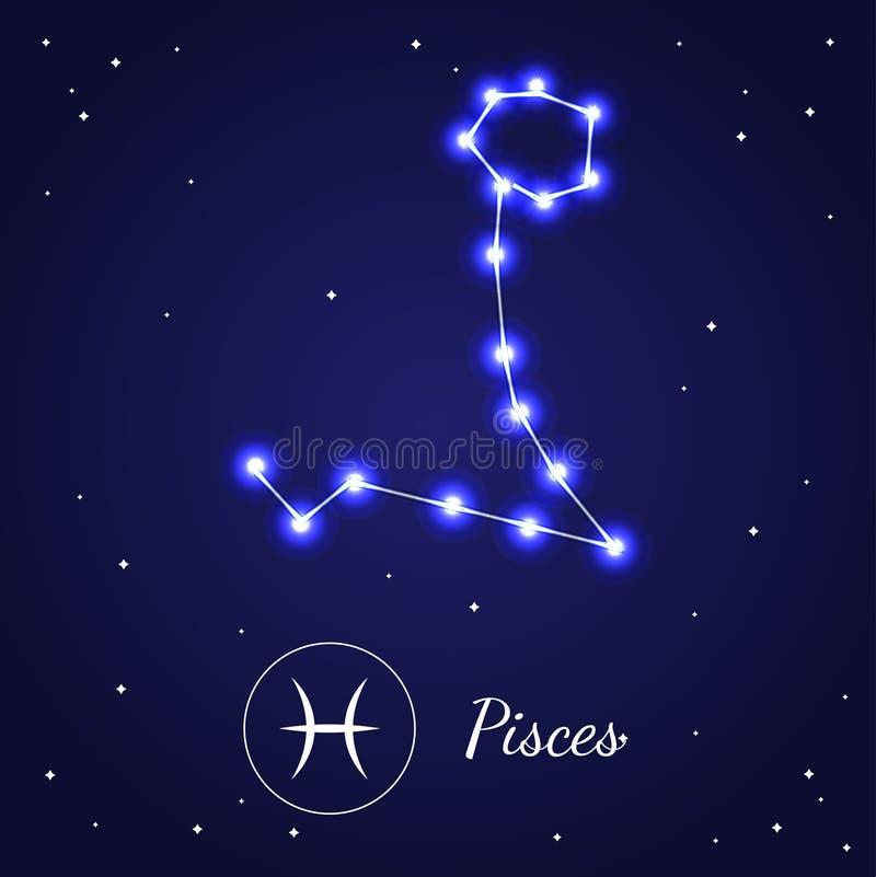 Pices黄道带在宇宙天空的标志星 向量 向量例证