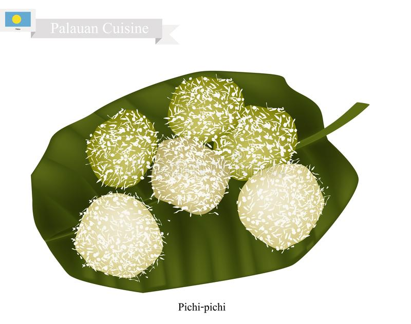 Pichi-Pichi eller Palauan efterrätt som göras av kokosnöten och den Grated kassavan vektor illustrationer