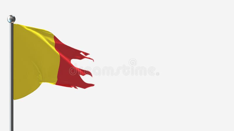 Pichincha Ecuador 3D: Falująca flaga na Flagpole royalty ilustracja