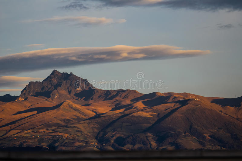 Pichincha in the morning glow. With contrasting shadows royalty free stock photo