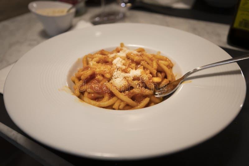 Pici Aglione Handmade Pasta Toskana stockbilder