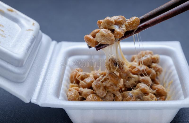 Japanese fermented soybean in foam box stock images