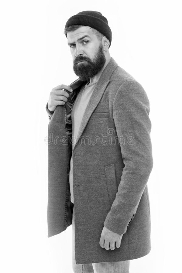 Pick matching clothes. Find outfit style you feel comfortable. Stylish casual outfit. Menswear and fashion concept. Man. Bearded hipster stylish fashionable stock images