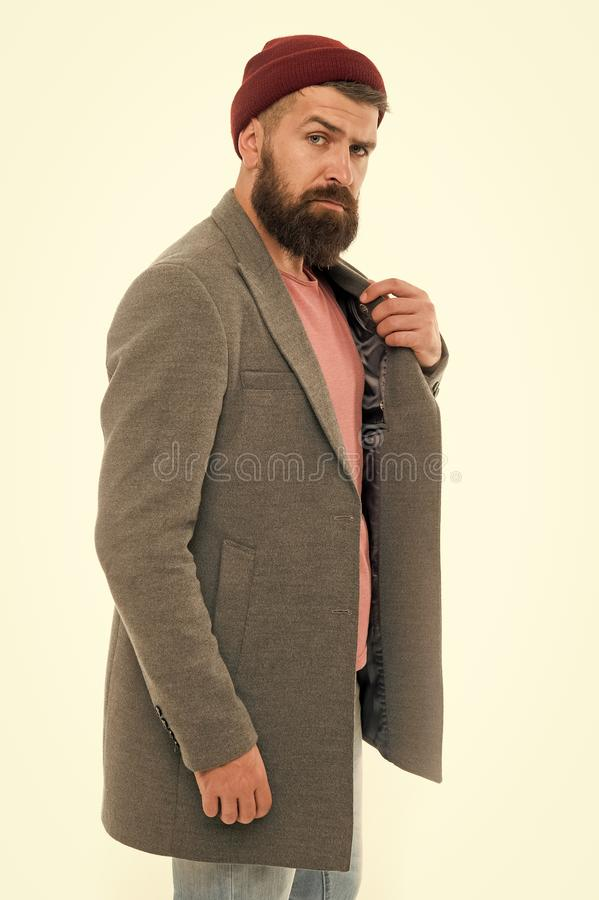 Pick matching clothes. Find outfit style you feel comfortable. Stylish casual outfit. Menswear and fashion concept. Man. Bearded hipster stylish fashionable royalty free stock image