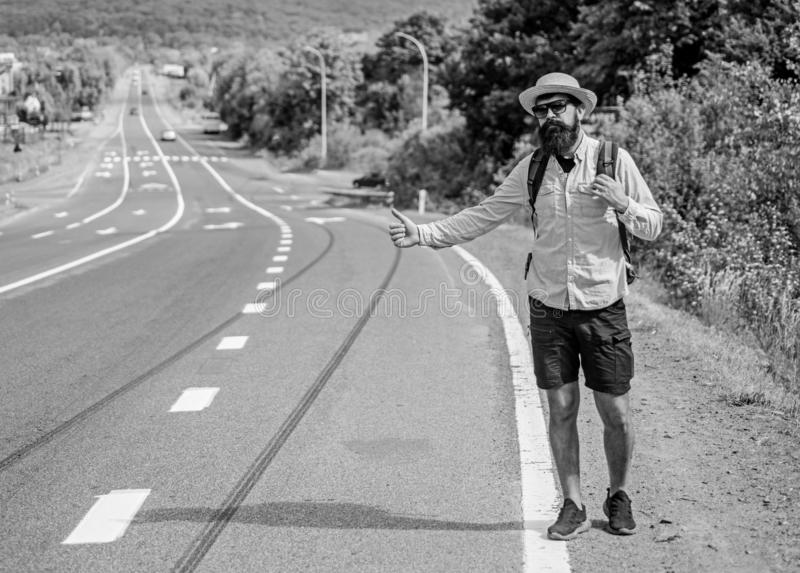Pick me up. Hitchhiking one of cheapest ways traveling. Picking up hitchhikers. Hitchhikers risk being picked up by. Someone who is unsafe driver or personally royalty free stock photos