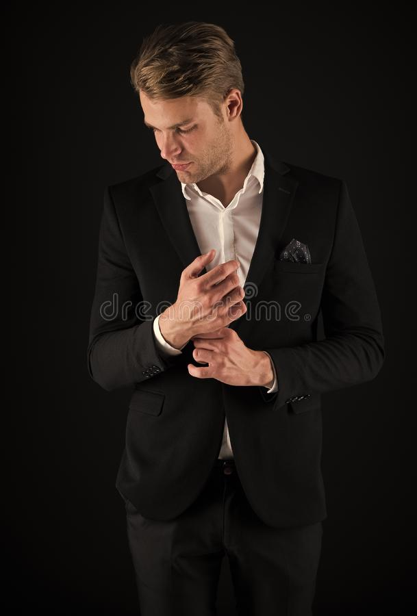 Pick perfect outfit to occasion. Every detail matters. Man well groomed wear elegant formal outfit. Macho confident. Prepare perfect outfit. Guy office worker royalty free stock photography