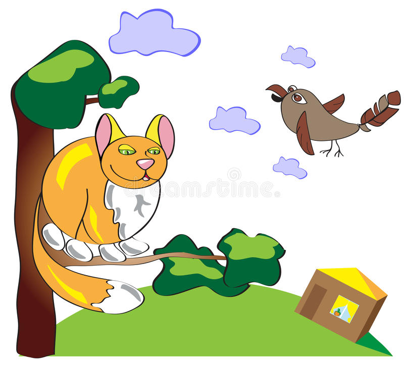Free Pick Up Cat And Sparrow On A Tree. Funny Illustration Of A Simple And Primitive Style. Cat And Birdon The Background Of Sky And C Stock Photos - 83432973