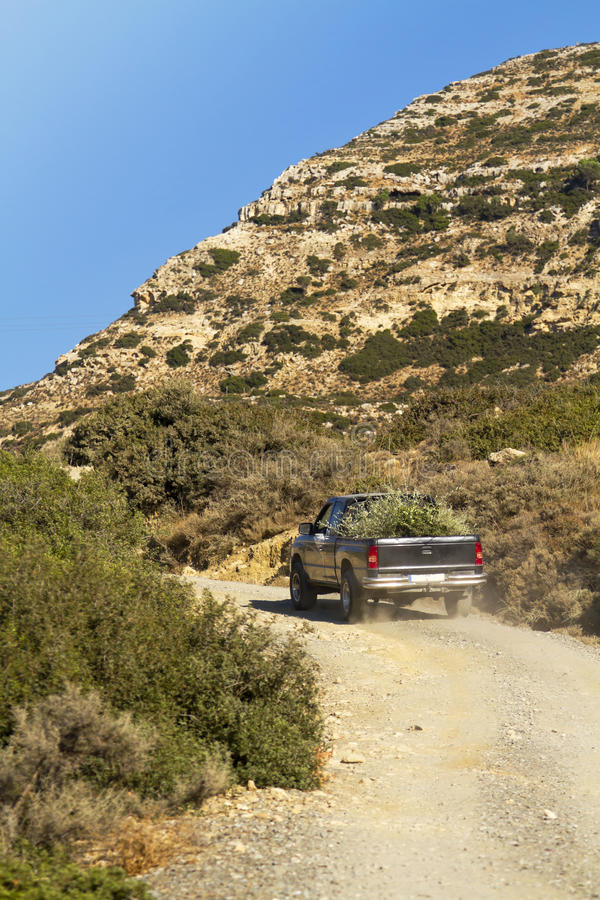 Download Pick Up Truck In The Dry Hills Of Crete Stock Image - Image: 25644569
