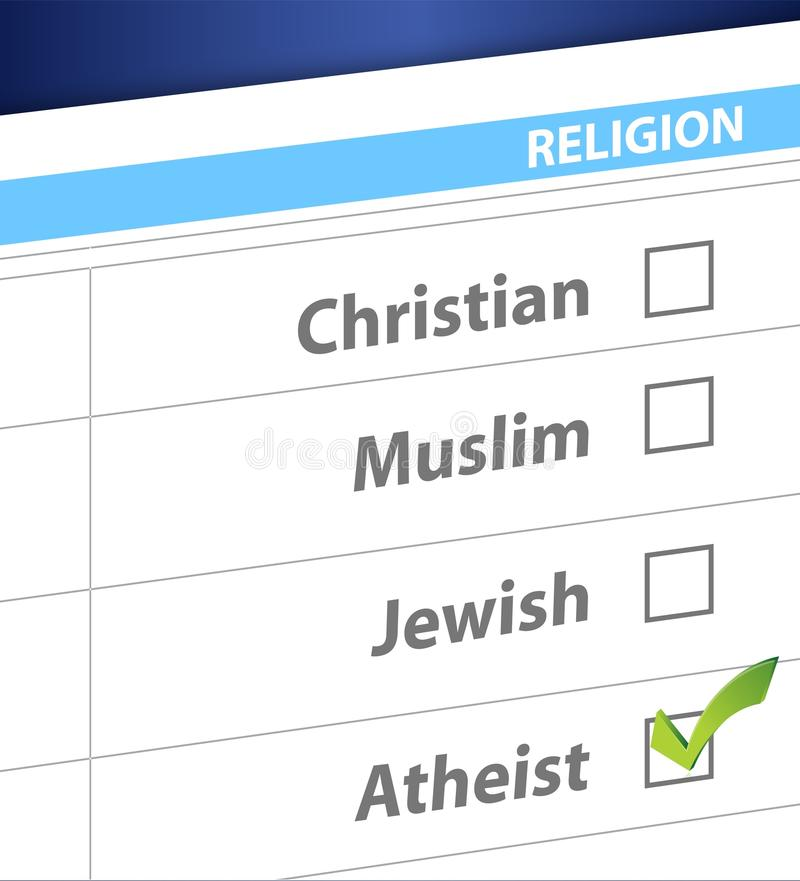 Pick your religion blue survey illustration. Design stock illustration