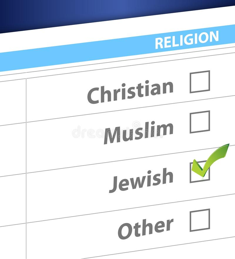 Pick your religion blue survey illustration. Design stock illustration