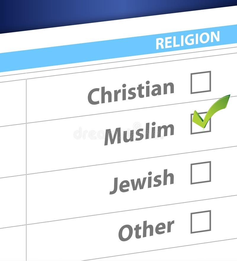 Pick your religion blue survey illustration. Design vector illustration