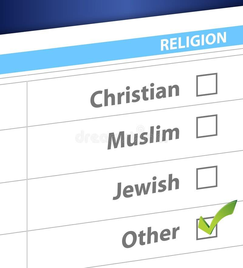 Pick your religion blue survey illustration. Design royalty free illustration