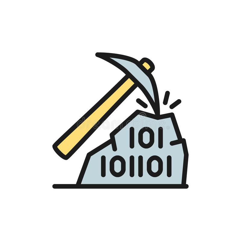 Pickaxe with binary stone code, blockchain, cryptocurrency flat color icon. vector illustration