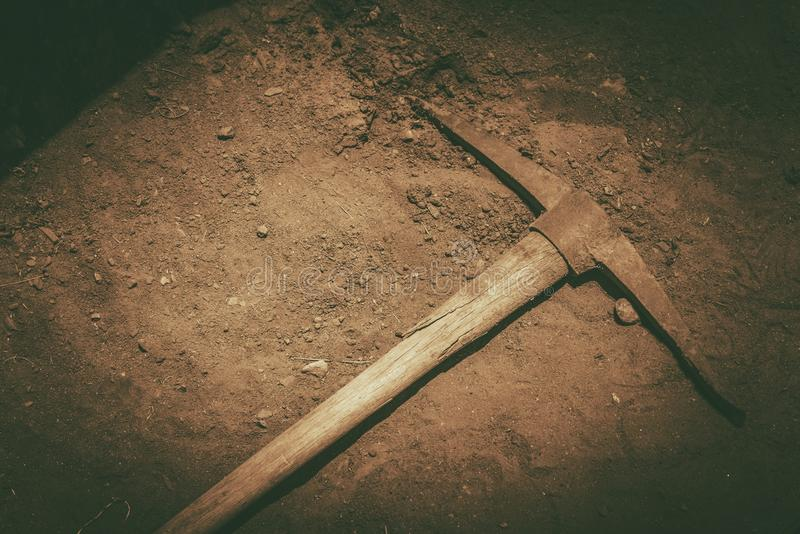 Pickaxe on the Ground stock photography
