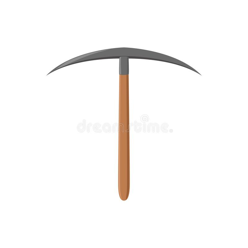 Pickaxe with iron tip and wooden handle. Cartoon working tool for archaeological and geological excavations. Archeology. Icon in flat style. Colored vector royalty free illustration
