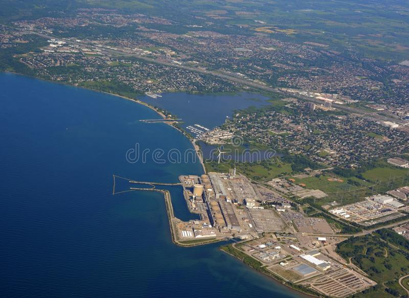 Pickering industrial aerial. Aerial view of the Nuclear Power plant on the shores of Lake Ontario in Pickering, Ontario Canada royalty free stock images