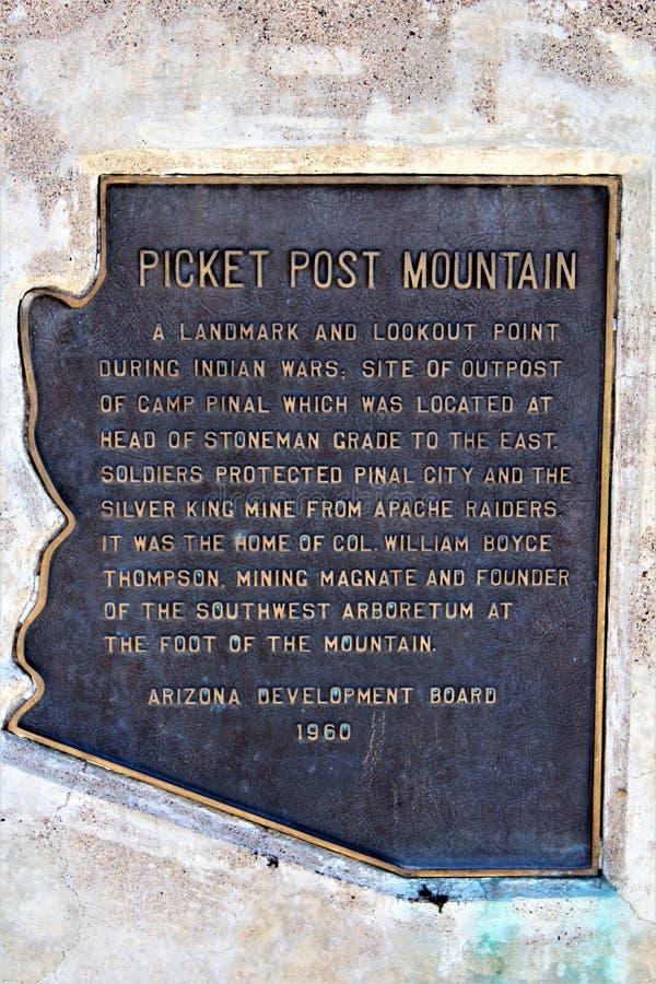 Boyce Thompson Arboretum State Park, Superior, Arizona United States. Picket Post Mountain signage at Boyce Thompson Arboretum State Park located at Superior stock photo
