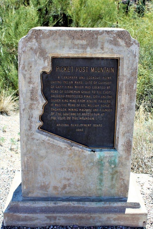 Boyce Thompson Arboretum State Park, Superior, Arizona United States. Picket Post Mountain signage at Boyce Thompson Arboretum State Park located at Superior stock photography