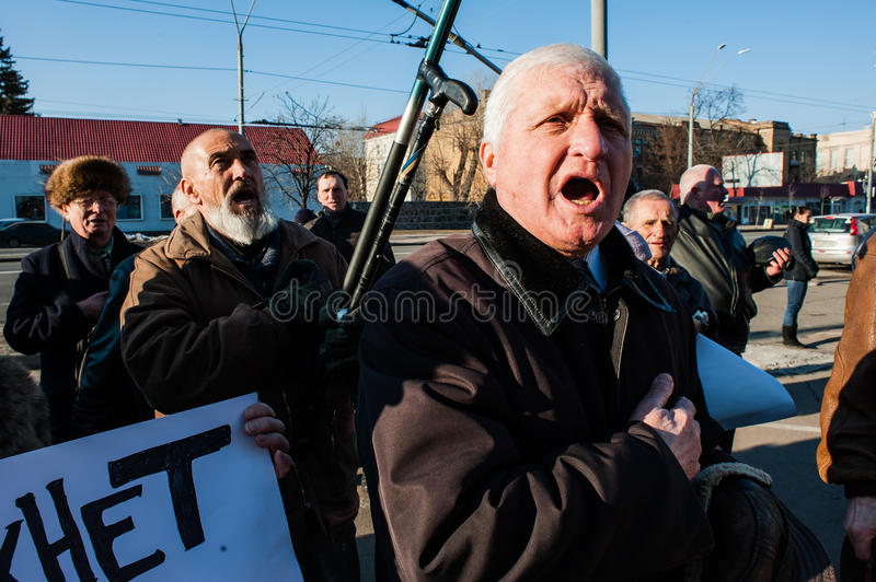 Picketing the Russian embassy in Kiev. February 7, 2016. Kiev, Ukraine. Fifty Russian and Ukrainian social activists picketed the Russian embassy in Kiev. The stock photography