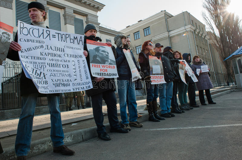 Picketing the Russian embassy in Kiev. February 7, 2016. Kiev, Ukraine. Fifty Russian and Ukrainian social activists picketed the Russian embassy in Kiev. The stock photo