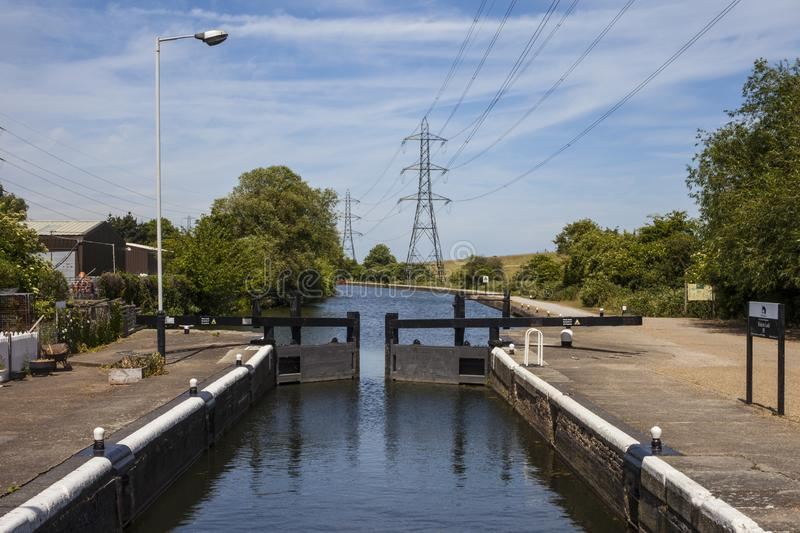 Picketts Lock on the River Lee. A view of Picketts Lock on the River Lee Navigation in London stock image