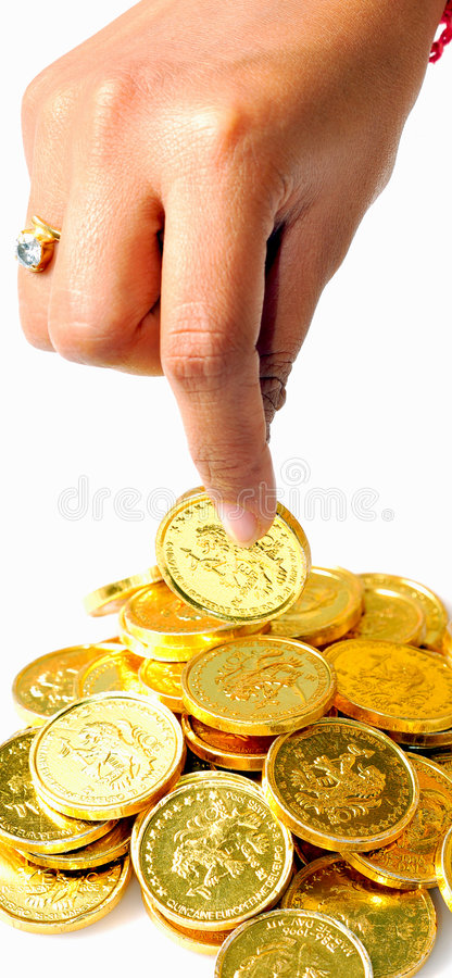 Picking the coin royalty free stock photo