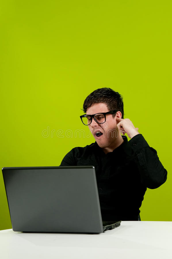 Download Picking ear stock image. Image of geek, caucasian, green - 14224911