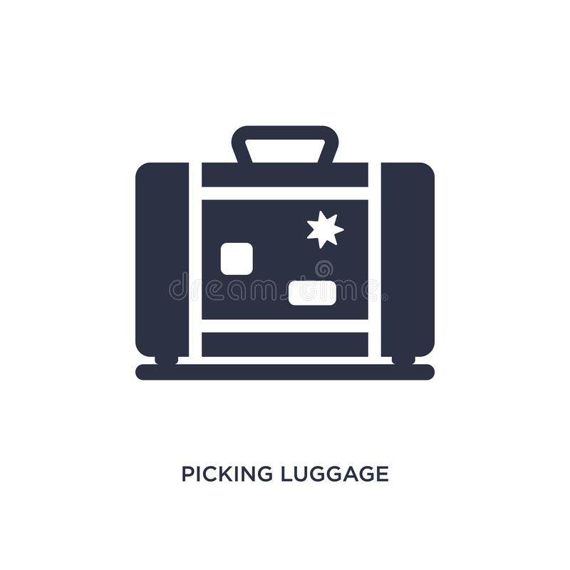 picking luggage icon on white background. Simple element illustration from airport terminal concept royalty free illustration
