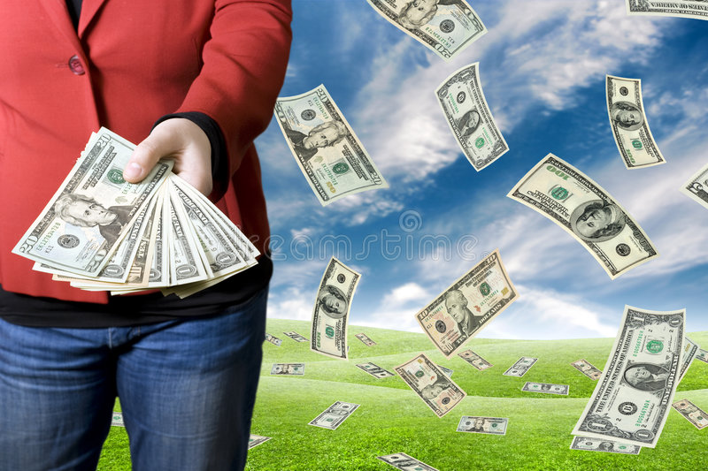 Picking Up Money Stock Images