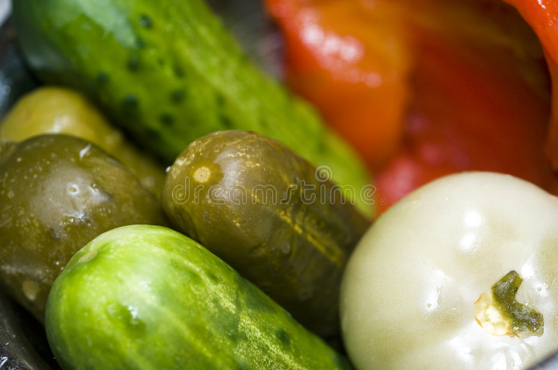 Pickle bowl macro new york deli royalty free stock photography