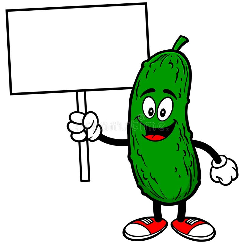 Pickle with Sign. A vector illustration of a Pickle with Sign royalty free illustration