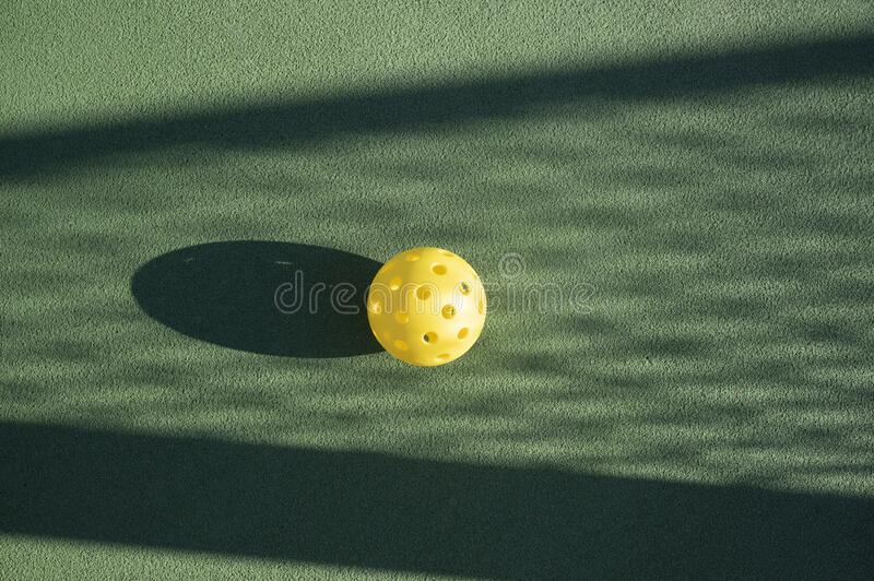 Pickleball with Ball and Net Shadow on Green Court royalty free stock images