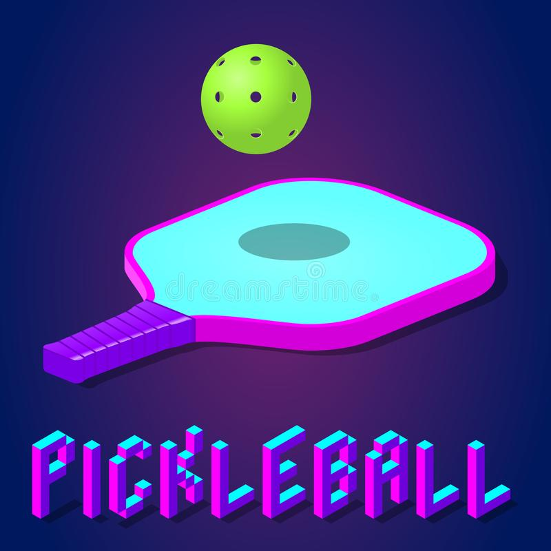 Pickleball modig vektorillustration stock illustrationer