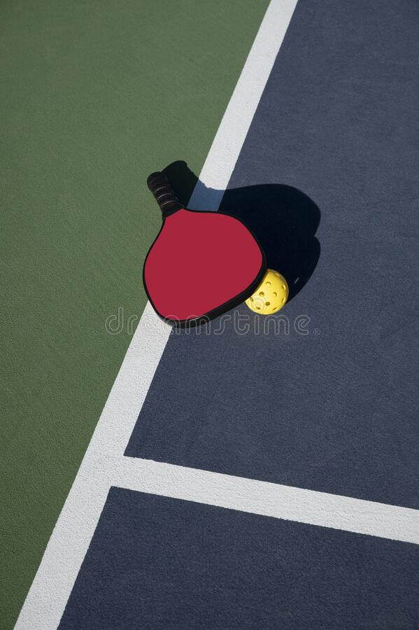 Pickleball Timeout with Paddle and Ball Near Center of Back Line of Court royalty free stock photography