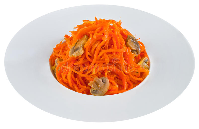 Pickled carrot in white plate stock photos