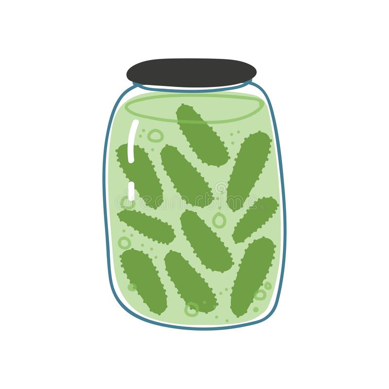Pickled Cucumbers in Glass Jar, Zero Waste Reusable Object, Eco lifestyle Concept Vector Illustration. On White Background stock illustration