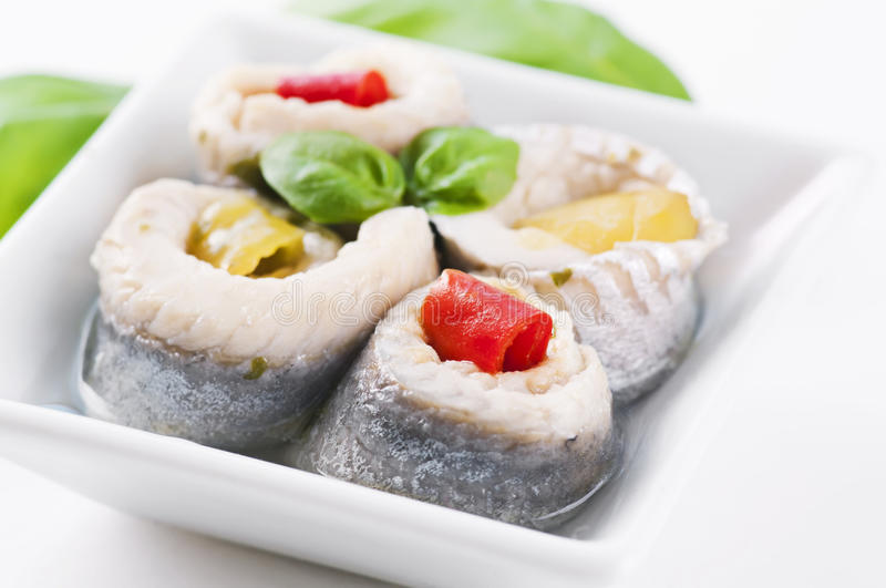 Pickled fish rolls royalty free stock image