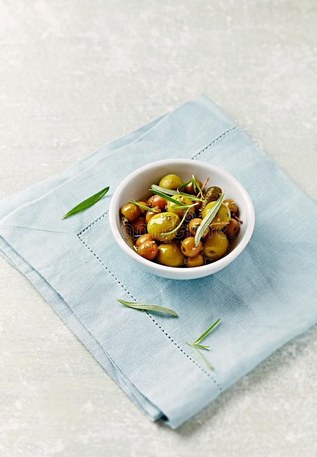 Pickled green olives. royalty free stock photography