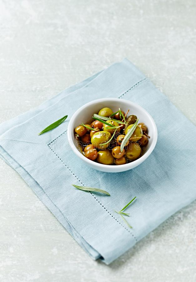 Pickled green olives. stock photos